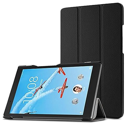 Lenovo Tab 4 8.0 2017 Hülle, Infiland Ultra Dünn Shell Smart-Muschel PU Leder Ultra Schlank Superleicht Ständer Smart Shell Cover Schutzhülle Etui Tasche für Lenovo Tab 4 8.0 2017 Tablet-PC(Schwarz)