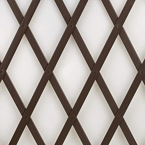 Tenax treplas 1,00x3 m, marrone, traliccio estensibile in pvc per sostegno a muro di fiori e piante rampicanti