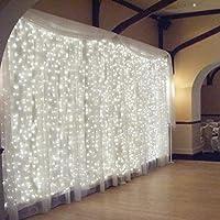 LED Lichterkettenvorhang,3m*3m 300 LEDs IP65 Wasserfest Sternen LED  Lichterkette Lichtervorhang,Weihnachtsbeleuchtung