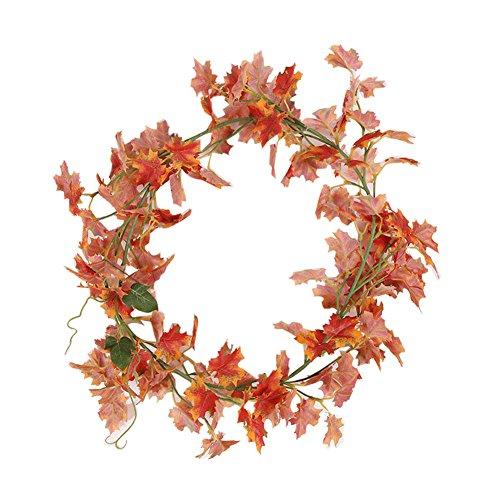 colorfulife Künstliche Hochwertigen 3.3-ft Ivy Leaf Vine Blättern hängende Blumen Girlande Rattan Home Garten Hochzeit Party Wand Dekoration, plastik, Maple Leaves, 1 Pieces