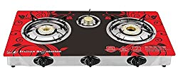 Suraksha Shine Surya Crystal Floral 3 Burner Gas Stove Cooktop, Red/Blue/Yellow