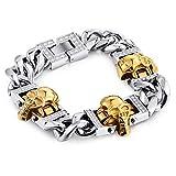 Armkette Vergoldet Armkette Silber Mit Gravur Gold Silber Punk Schädel Totenkopf Edelstahl Mit Zirkon Armband Gothic Herren Armband Blisfille