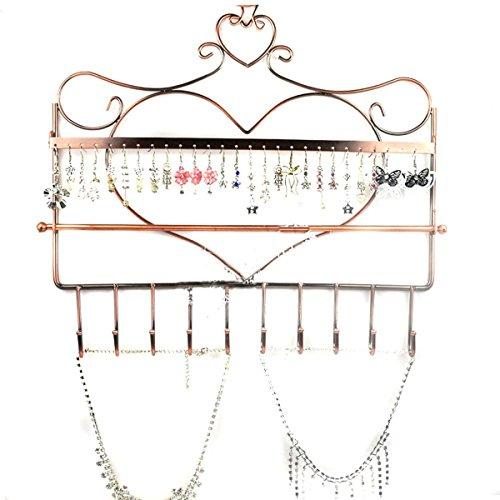 Vosarea Neuheit Heart Shaped Wandhalterung Schmuck Organizer Hängende Ohrring Halskette Schmuck Halter Display Stand Rack (Bronze) (Halsketten-halter Hängende)