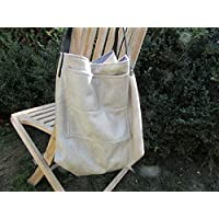 Sac à main fait main,sac cabas en tissu simili cuir beige - 30 x 55 x 27 cm, Cadeaux anniversaires, cadeaux Noël, cadeaux maman, st Valentin, mariage, cadeaux maitresses