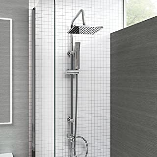 iBathUK | Modern Chrome Riser Rail Mixer Square Shower Head Kit for Bath Tap SP5106