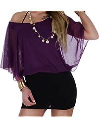 Damen Fledermaus Longshirt Tunika Oberteil in 6 Farben Einheitsgröße von 34 XS bis 40 L
