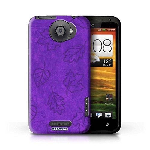 Kobalt® Imprimé Etui / Coque pour HTC One X / Rouge conception / Série Motif Feuille/Effet Textile Pourpre