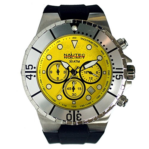 Nautec No Limit men's Quartz Watch Analogue Display and Rubber Strap MALD-QZ-GMT-RBSTST-YL