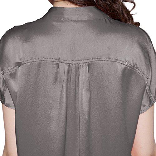 LILYSILK Pyjama Femme 100% Soie Manches Courtes Pyjama Soie Gris Foncé