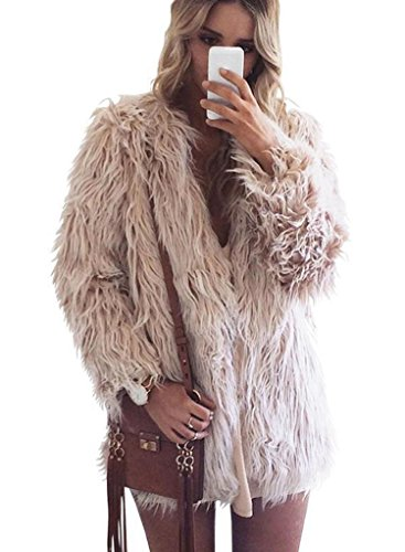 CRAVOG Pelz Mantel Damen Kunstpelz Flauschiges Outwear Parka Fur Jacke Winter