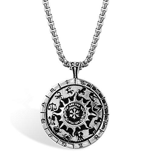 JewelryWe Schmuck Herren Halskette, Edelstahl Retro Klasische Tierkreis Sternzeichen Kompass Anhänger mit 56cm Kette, Silber