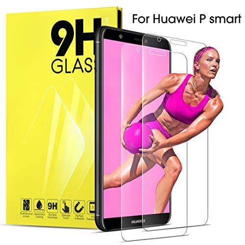 Huawei P Smart Panzerglas Schutzfolie 2 Stück Transparente Folie Schutzglas Panzerglasfolie 9H Härtegrad Bildschirmschutzfolie HD Anti-Kratzer Glasfolie Kompatibel mit Hülle Silikon für Huawei P Smart