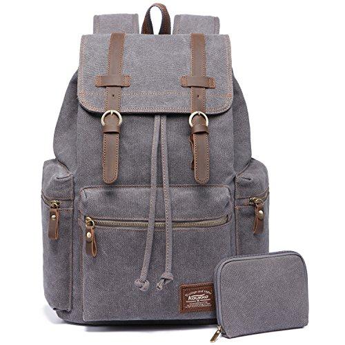 Vintage Rucksäcke,Kaukko Canvas Laptop Rucksack Damen Herren Schulrucksack Daypack Stylisch Backpack für Outdoor Wanderreise Campin...