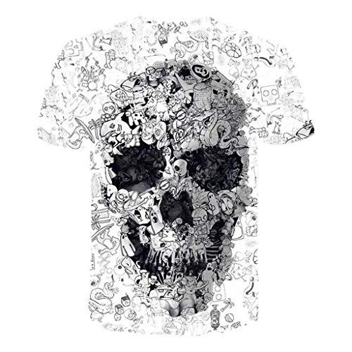 c26578cccc Uomo T Shirt Estate Skull Manica Corta Maglietta 3D Stampato Camicia  Elegante Maglietta Casual T-Shirt Ragazzi Estate Tops Stretch Maglione  Tumblr ...