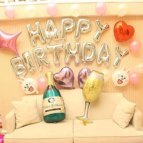 ZYEZI Buchstabe Ballon Herzförmige Verzierung Kinderzimmer Party Digitales Thema Geburtstagsarrangement Alles Gute Zum Geburtstag Hotel