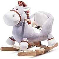 Merax Schaukelpferd Kinder,Schaukeltier Plüsch Schaukel Pferd Baby Schaukelspielzeug