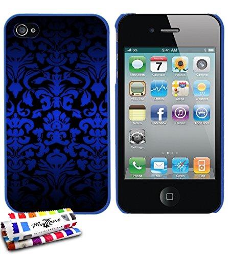 Ultraflache weiche Schutzhülle APPLE IPHONE 4S [Barock blau] [Schwarz] von MUZZANO + STIFT und MICROFASERTUCH MUZZANO® GRATIS - Das ULTIMATIVE, ELEGANTE UND LANGLEBIGE Schutz-Case für Ihr APPLE IPHONE Blau