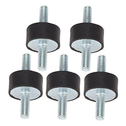 WEONE sostituzione M8 30x15mm nero + argento Ends doppie vite Silentblock Per compressore d'aria nero + argento (pacchetto di