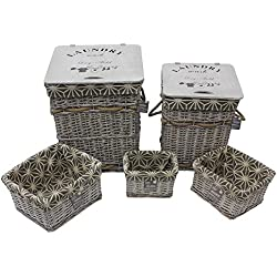 JVL–Cesto Rectangular de Mimbre geométrico Ropa y cestas de Almacenamiento con revestimientos, Mimbre y Madera, Gris, 43x 43x 49cm