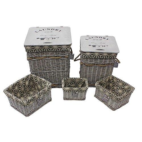 Jvl geometrico salice rettangolare biancheria e cestini con guarnizioni, in vimini e legno, grigio, 43x 43x 49cm