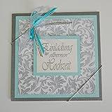 10 x Einladungskarte zur silbernen Hochzeit*silber-eisblau*Handmade*