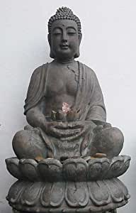 dafloxx brunnen buddha skulptur statue 86cm incl licht pumpe feng shui figur. Black Bedroom Furniture Sets. Home Design Ideas