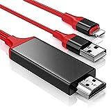 Hoidokly Câble Phone vers HDMI 2M/6.6ft Adaptateur vers Phone HDMI 1080P HDTV MHL Adaptateur de Cable pour Phone XR/XS Max/XS/X/8/8 Plus/7/7 Plus/6s/6 Plus/5/5s - Jusqu'à iOS 12