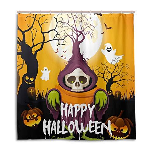 CPYang Duschvorhang Halloween Totenkopf Geist Kürbis Wasserdicht Schimmelresistent Bad Vorhang Badezimmer Home Decor 168 x 182 cm mit 12 Haken