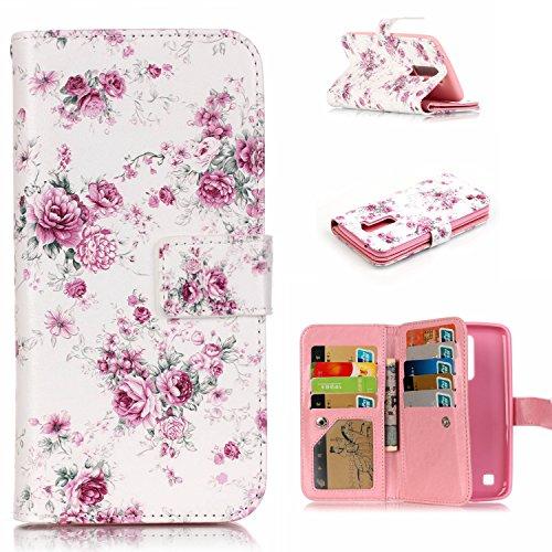 EMAXELERS LG K10 Hülle Nette Rot Herz Muster Schutzhülle Ledertasche Handyhülle Standfunktion Handschlaufe Etui Hülle Cover Case für LG K10/ LG Tribute 5 mit A Eingabestift,Pink Flowers