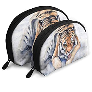 Amur Tiger Siberian Tiger Big Cat Shell Portable Bags Clutch Pouch Cosmetic Makeup Bag Pouch 2Pcs