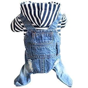 Gnaixeh Vêtements pour Animaux De Compagnie Chiot Chien Hoodies Salopettes en Denim Combinaison Salopettes Rayures Veste XS-XXL