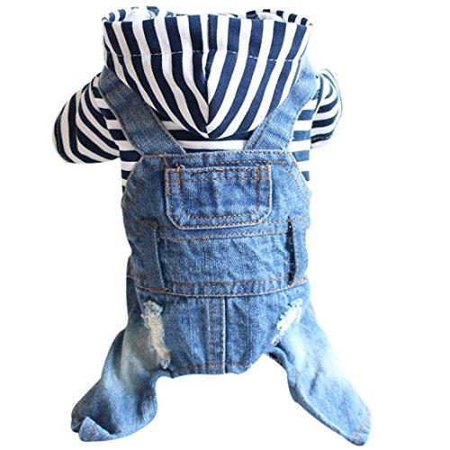 Ai.Moichien Haustier-Kleidung Denim-Welpen-Hund Hoodied Jeans-Overall-Overall-Ausstattungen Partei-Klage XS-XXL (Wein Themen Kostüme)