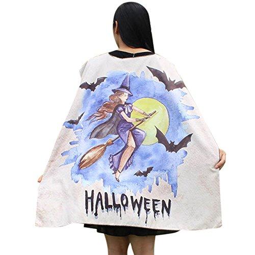 Kostüm Kürbis Square - Blingko Schal Halloween Karneval Frauen Neuheit Kürbis Print Cape Schal Halloween Poncho Schal Wrap Kostüm Halloween Square Print Schal Beige