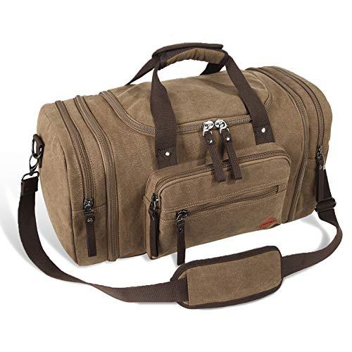 VENTCY Weekender Tasche Gym Duffle Bag Handgepäck Tasche 40L Canvas Reisetasche Sporttasche Herren Damen für Urlaub Business Braun