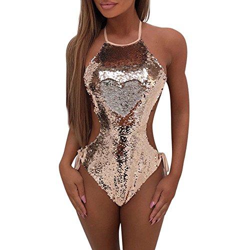 Sasstaids Sommer Badeanzug,Damen Pailletten Verband Jumpsuit Push-Up Gepolsterter BH Bikini Badeanzug