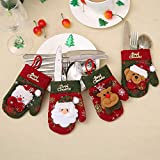 hEziJpTnA 4pcs / Set De Navidad para Hogar Muñeco De Nieve Cubiertos Bolsas De Navidad Cocina Mesa De Comedor Cubiertos Juego Determinado De La Decoración