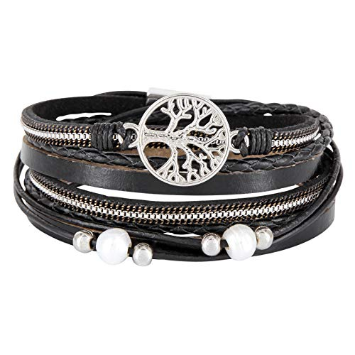 StarAppeal Wickelarmband mit Perlen, Ketten, Flechtelement und Lebensbaum Anhänger, Magnetverschluss Silber, Damen Armband (Schwarz)