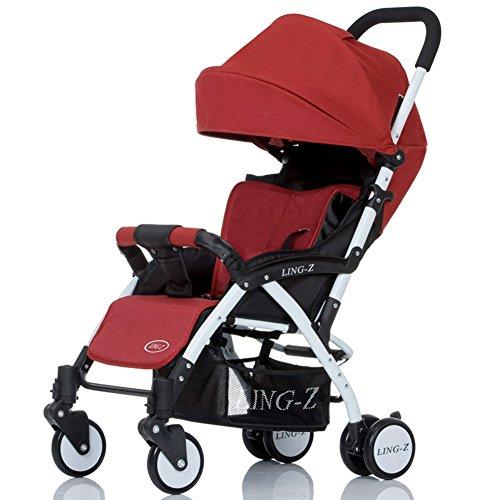 Poussette XUERUI Chariot Pliant Confortable Belle Confort Sécurité 5 Couleurs (Couleur : Rouge)