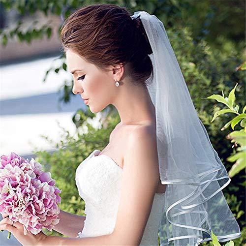 Braut Ziel Kostüm - WMVEIL 2T Einfach Kurz Tüll Brautschleier Band Kante Finger Länge Schleier Weiß Elfenbein Hochzeit Zubehörteil zum Braut Ehe, 31 Zoll,Ivory