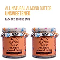 La Frux Unsweetened Almond Butter - All Natural, Vegan, Gluten Free, Low Carb, Keto Friendly, Pack of 2, 200 GMS Each