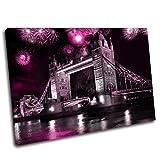 La Culture sur toile-Pont de Londres Impression sur toile Tableau Cadre Box 10, rose, 60 x 40 cm