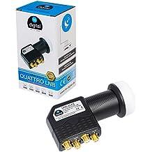 HB-DIGITAL Quattro LNB LNC para el interruptor multi para ✨ FULL HD TV 3D 4K Negro Black ■ contactos chapados en oro ■ Protección ambiental (extensible)