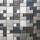 Sentido moderno Acero inoxidable mosaico 300*300mm Cocina backsplash / ducha de pared de la pared de la pared / Hotel pasillo pared de la frontera / piso residencial de piso y aplicaciones de la pared SA007-18 … Mosaico de vidrio de acero inoxidable Azulejos de mosaico color mixto Art Deco acero inoxidable mosaico 300*300mm Cocina backsplash / ducha de pared de la pared de la pared / Hotel pasillo pared de la frontera / piso residencial de piso y aplicaciones de la pared SA168-1 (1 pieza)
