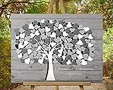 80x60 cm, 3D - Optik Leinwanddruck-Gästebuch, Hochzeitsbaum, Wedding Tree, Rustikales Gästebuch, Leinwanddruck - Baum, Keilrahmen und Holz Motiv