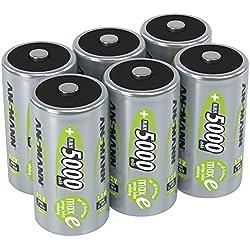 ANSMANN piles rechargeables D, 1,2 V / Type 5000mAh / HR20 / Accumulateur NiMH de grande capacité avec une puissance de sortie constante et une longévité élevée - idéal pour les appareils à forte consommation d'énergie, 6 unités