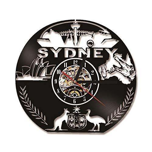 Hollow Australien Karte CD Rekorduhr 3D Sydeny Besichtigungen LED Wandklingel Känguru Modell Hängende Vinyl Uhr