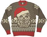 Star Wars Chewbacca Big Gesicht With Weihnachtsmann Hat Braun hässlich Weihnachten Sweater (Erwachsene Large)
