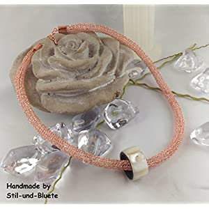 Halskette Kupfer und Gold-rosé mit Großlochperle - Unikat