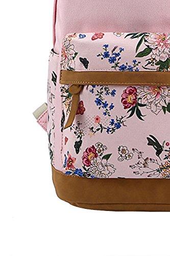 Vococal® Mädchen Student Blume Gedruckt Leinwand Rucksäcke Schulrucksäcke - Damen Multi-purpose Outdoor Reisen Rucksackhandtaschen Schultasche Tablet Laptop Tasche, Königsblau #2