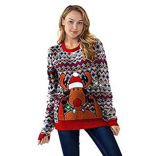 88fcdba2621a U LOOK UGLY TODAY Damen Weihnachtspullover Lustig Lange Pulli Sweater Xmas  Weihnachtspulli Strickpullover im Tunika-